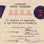 Commando Service Certificate-Hugh Maines-Stage 9A