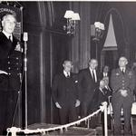 Lord Mountbatten addressing Commando Reunion before the Battle Honours Flag 1968