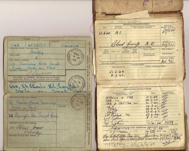 Army documents for L/Cpl. Stanley Swinson