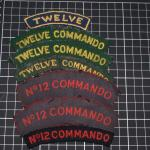 No12 Commando shoulder titles-various printed and woven designs