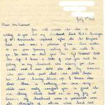Letter (page 1) from Mrs Swayne wife of Lieut. Ronnie Swayne MC dated 7th July 1942