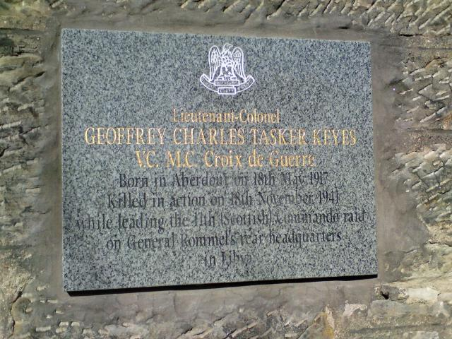 Plaque for Lieut. Col. Geoffrey Keyes VC   No.11 Commando