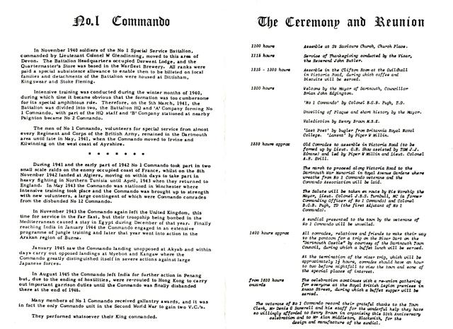 50th Anniversary of formation of No1 Cdo. (inside pages)