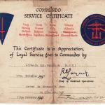 Hugh Maines-Commando Service certificate.