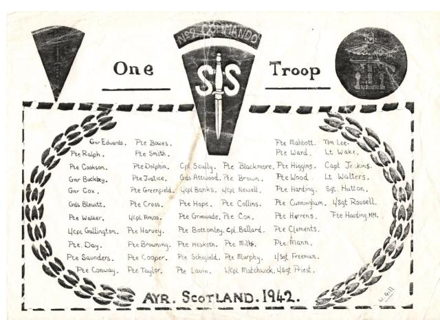 Nominal roll of No.2 Commando 1 troop, Ayr 1942.