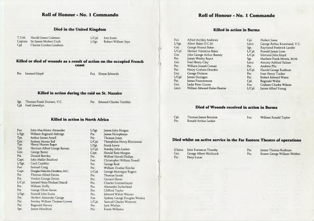 No1. Commando Roll of Honour