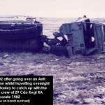 Overturned after mine blast, Operation Corporate - The Falklands 1982