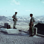 LBdr Brian Rusco and Maj. Nigel Frend RA overlooking Fort Clark Aden 1967