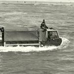 L/Bdr Smith and Cfn Farrelly on the waterproofing trials for the 1 tonne Rover c.1975