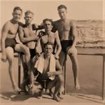Mnes. Jones, Newby, Ritchie, Moran, and Bailey, 45 Cdo.RM 'X' Trp. swimming team circa 1948-50