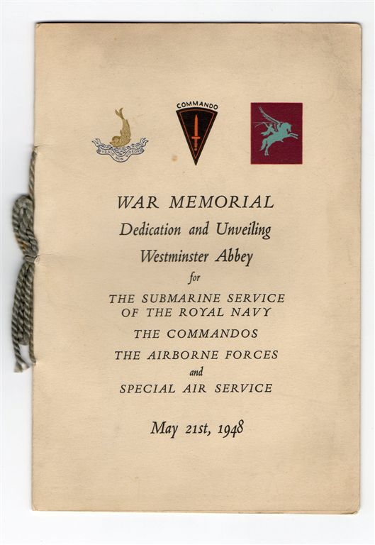 Westminister Abbey War Memorial Dedication Programme-May 1948.